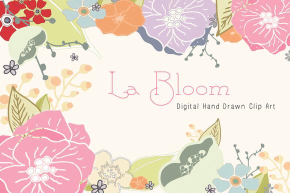 Hand Drawn Florals Digital Clip Art