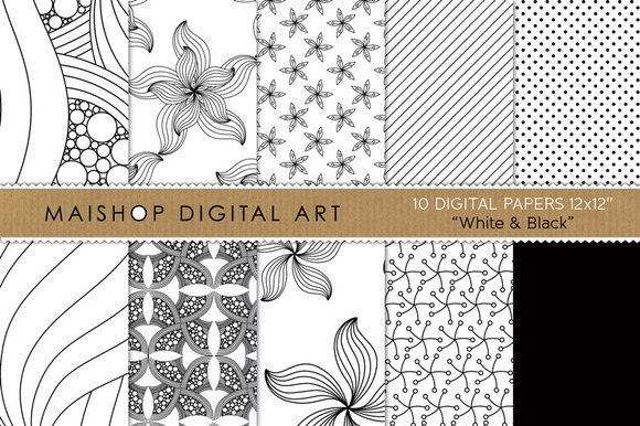Digital Papers-White Black