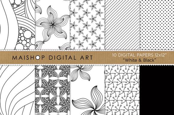 Digital Papers-White Black
