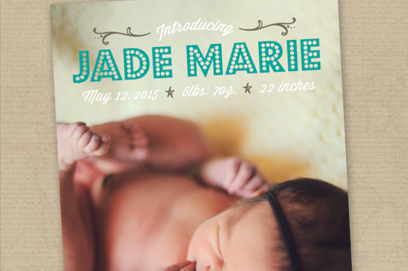Birth Announcement Card Template