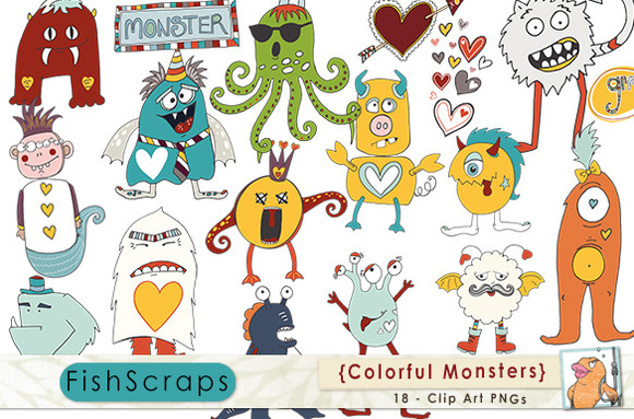 Colorful Monster Clip Art