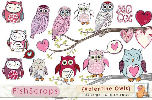 Valentine Pink Purple Owl Clip Art