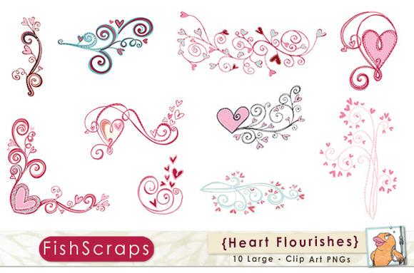 Heart Flourishes Pink Valentine