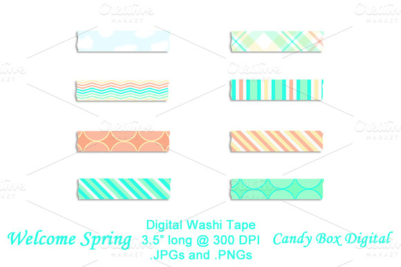 Welcome Spring Digital Washi Tape