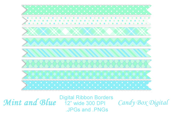 Mint And Blue Digital Ribbons