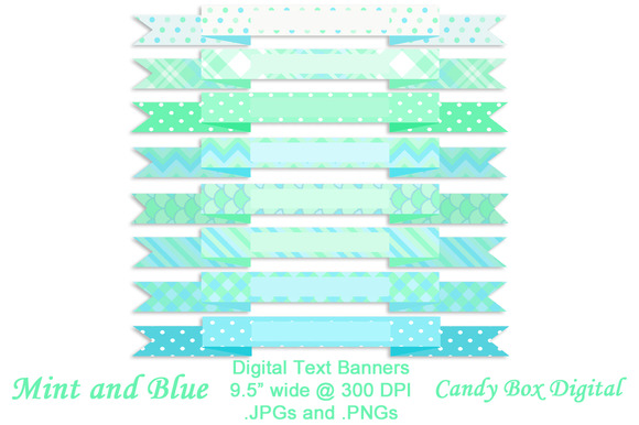 Mint And Blue Ribbon Banners