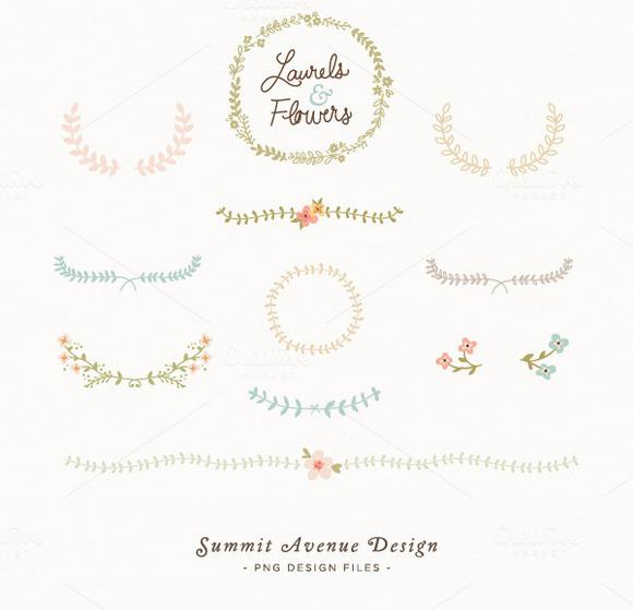 Laurel And Flowers Design Elements