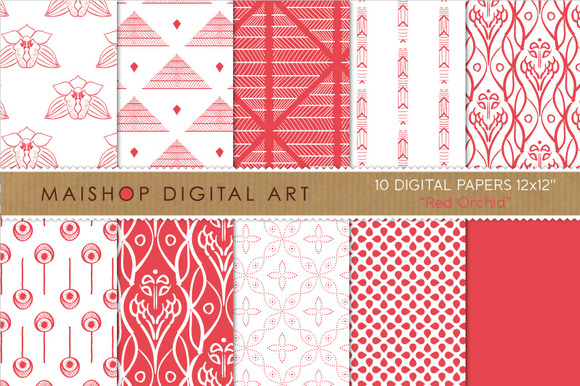 Digital Papers-Red Orchid