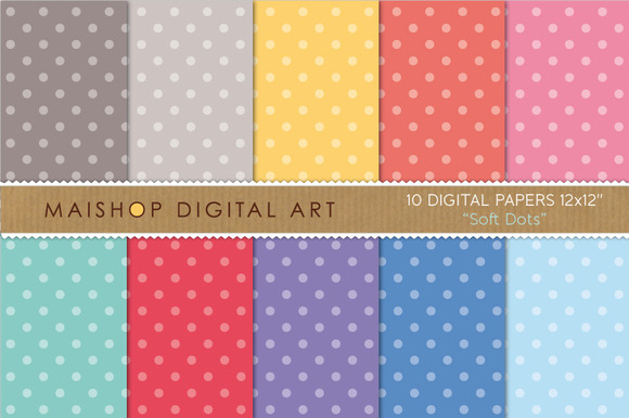 Digital Papers-Soft Dots