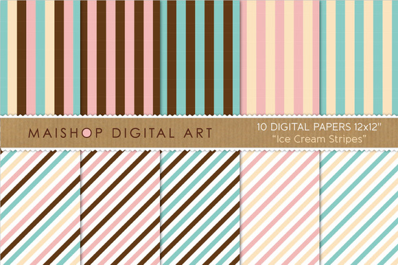 Digital Papers-Ice Cream Stripes