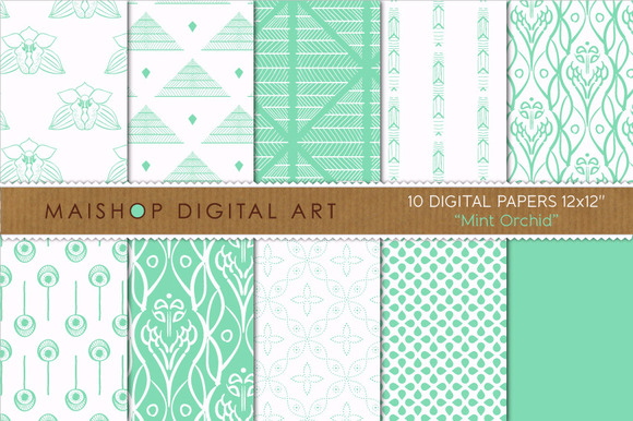 Digital Papers-Mint Orchid
