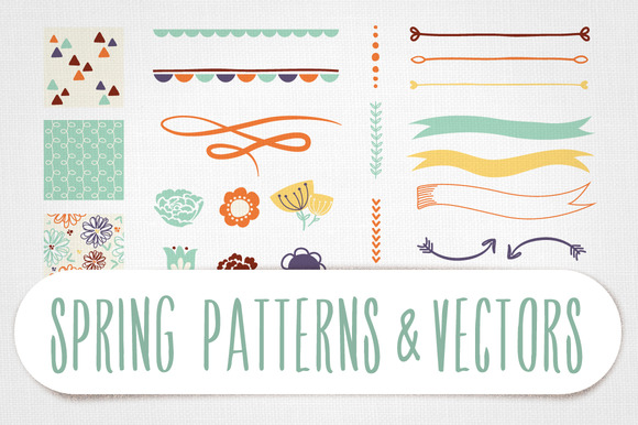 Spring Patterns Vectors