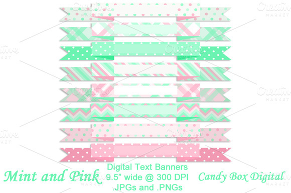 Mint And Pink Digital Text Banners