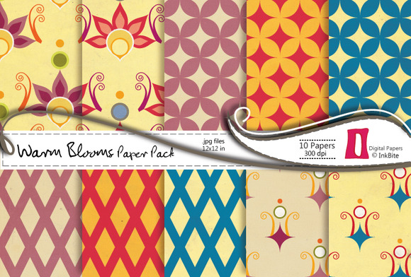 Warm Blooms Digital Papers