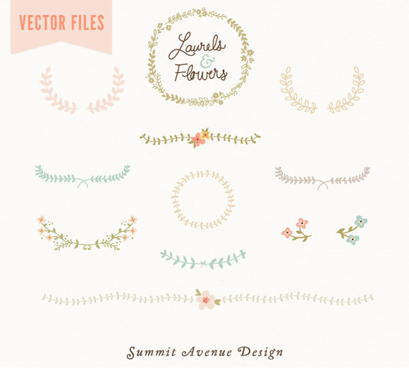 Laurel Flowers Vintage Vector