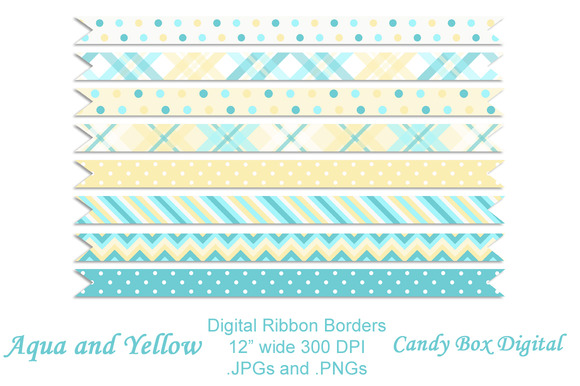 Aqua And Yellow Ribbon Borders