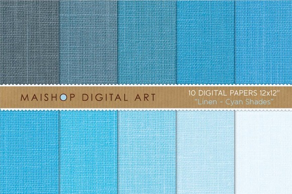 Digital Papers-Linen-Cyan Shades