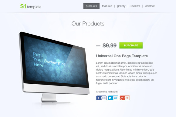 S1 Universal One Page PSD Template
