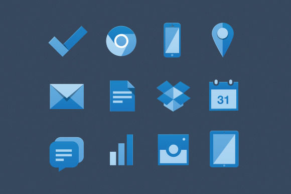 Flat Blue Web Icons