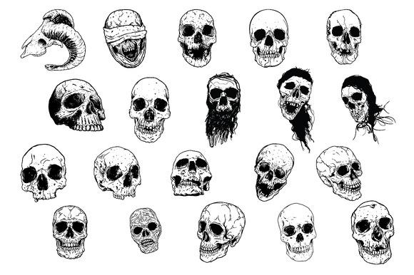 Skulls Vector Pack #3 Hand-drawn
