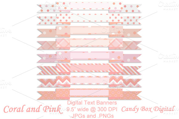 Coral And Pink Text Banners
