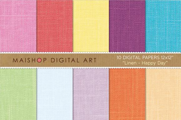 Digital Paper-Linen-Happy Day