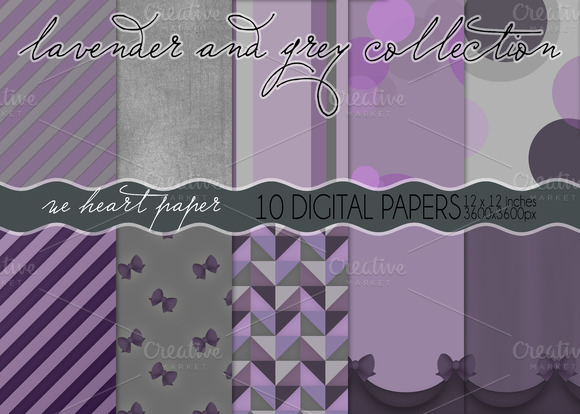 Lavender And Grey Digital Papers