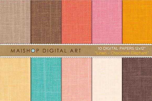 Digital Paper-Linen-Choco Elephant