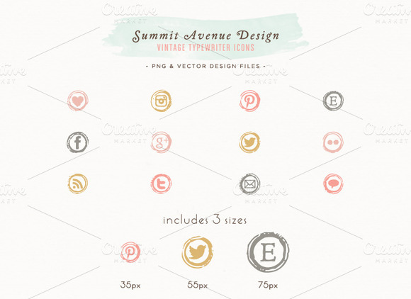 Vintage Typewriter Key Social Icons
