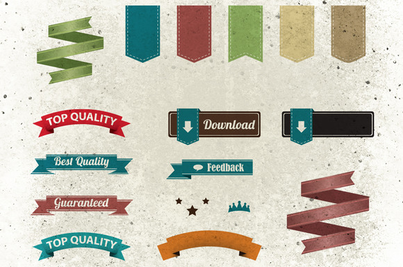 Retro Ribbons And Labels Pack