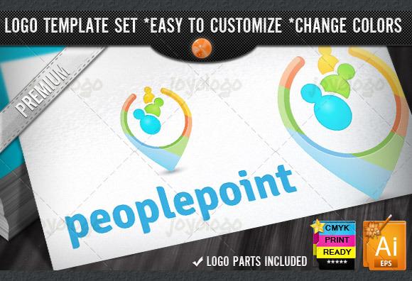 Social Media 3D People Point Logo