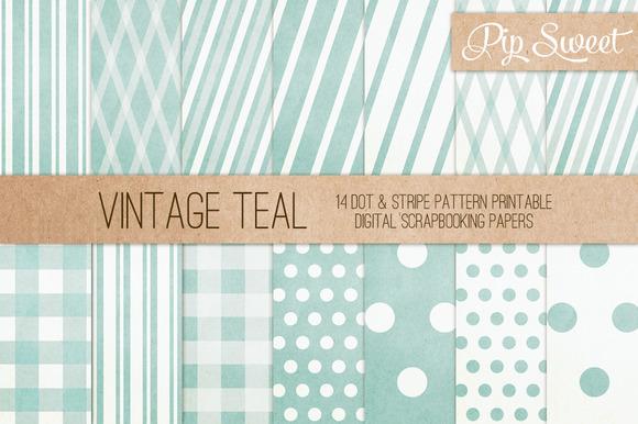 Vintage Teal 14 Pattern Set