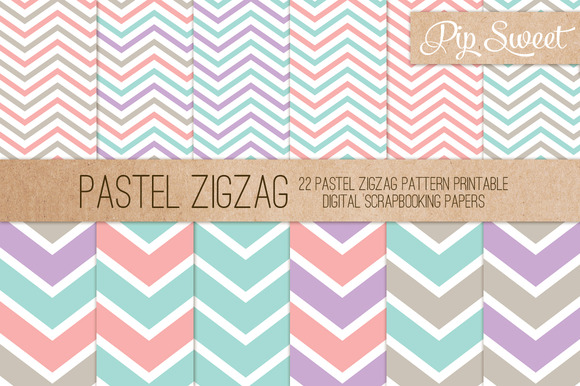 Pastel Zigzag 22 Pattern Set