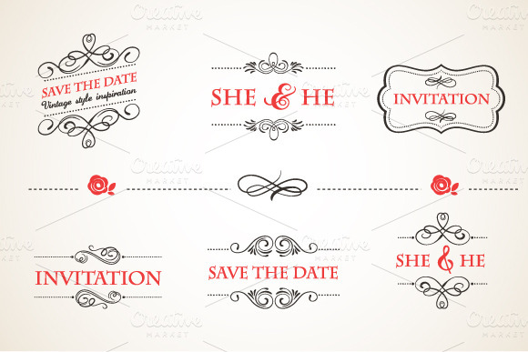 Save The Date Vintage Frames Set