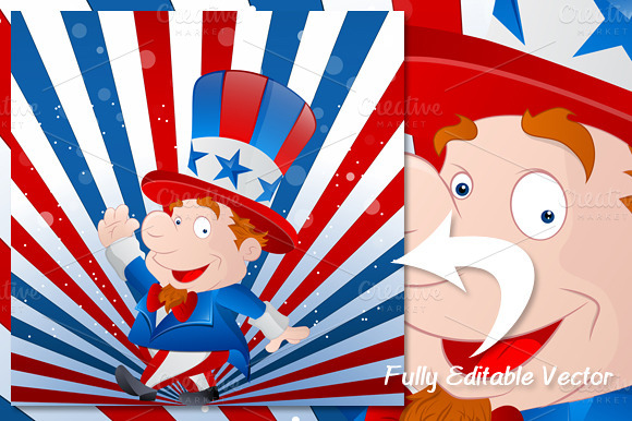 Cute Uncle Sam 4th Of July Vector