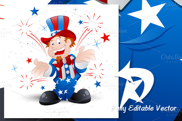 4th Of July Cartoon Uncle Sam