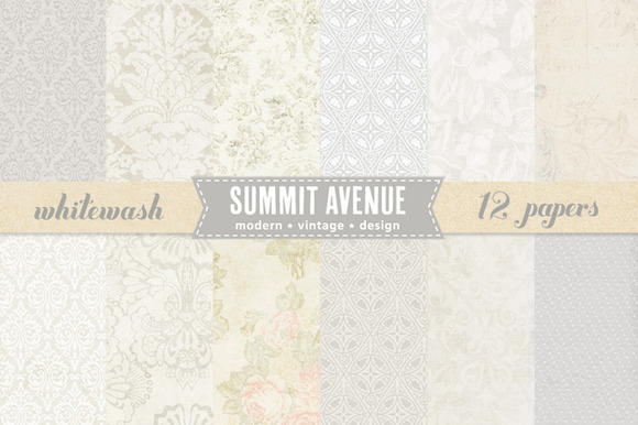 Vintage Whitewash Digital Papers