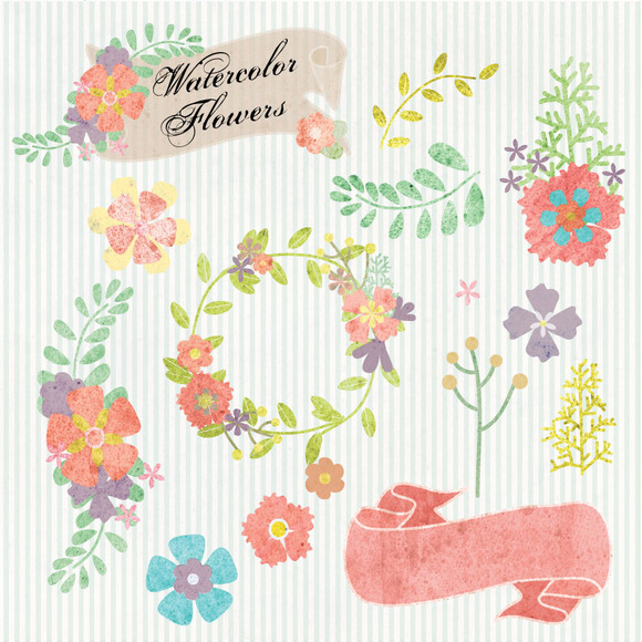Watercolor Flowers Digital Clipart