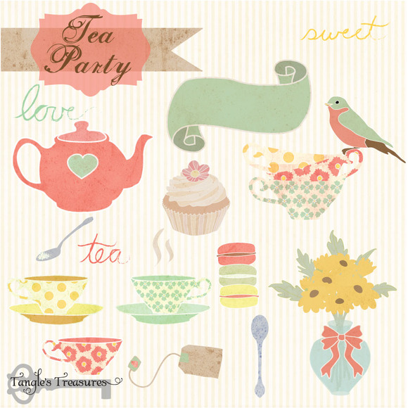 Tea Party Digital Clipart