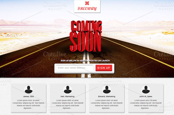 Freeway Responsive Coming Soon Page