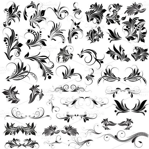 Set 2 Floral Vector PNG Brushes