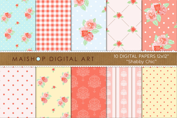 Digital Paper-Shabby Chic