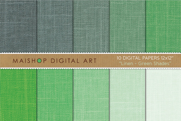 Digital Papers-Linen-Green Shades