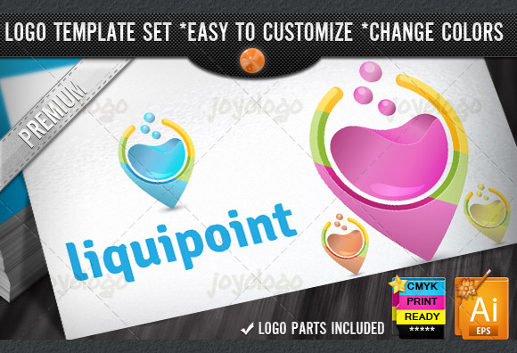 3D Liquids Water Point Logo Template