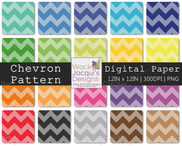 22 Chevron Digital Paper 12x12 PNG