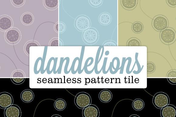 Seamless Pattern Funky Dandelion