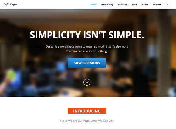 DW One Page Modern HTML Template