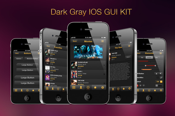 Dark Gray GUI IOS Kit Movies App