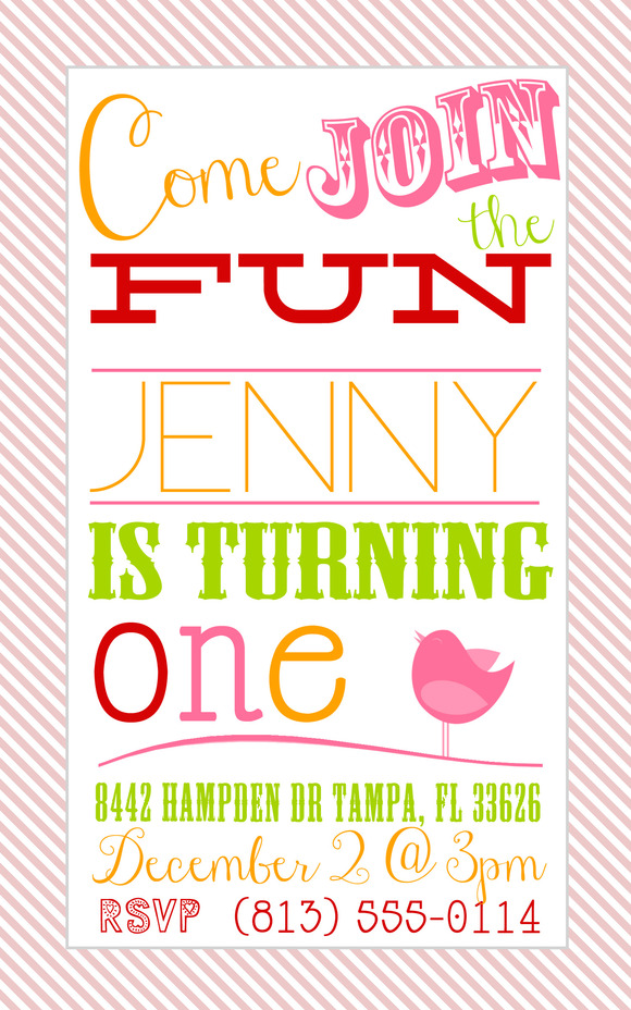 1 Yr Old Birthday Party Invite