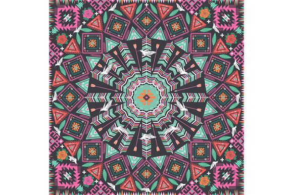 Aztec Round Geometric Pattern
